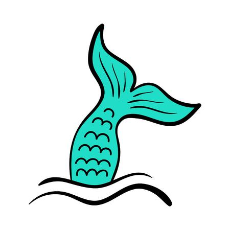 Mermaid Tail Vector Graphic Illustration. Hand drawn teal, turquoise mermaid. Illustration