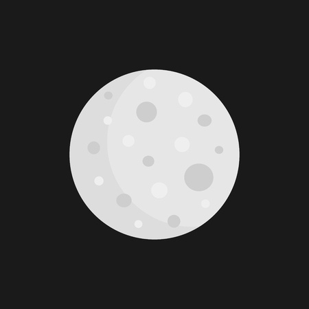 Simple moon vector illustration, graphic icon. Moon isolated on gray, black background.