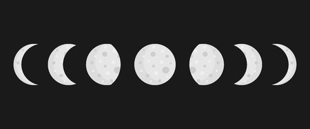 Moon phases vector illustration, full moon, waxing, waning and crescent moon. Simple moon icons isolated on black background. Ilustrace