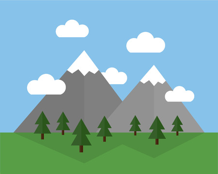 Mountain day landscape vector illustration flat design. Snow covered mountains with forest and grass, blue sky with clouds.