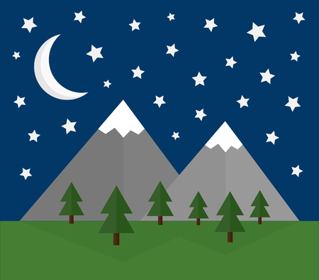 Vector Illustration Keywords: Snow covered mountains with forest and grass, night sky with moon and stars.  イラスト・ベクター素材
