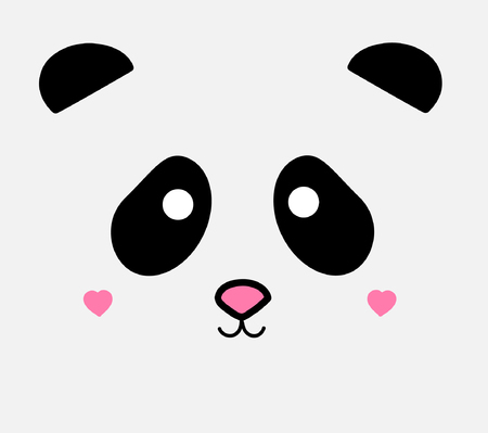 Cute panda vector illustration with light gray background, panda's head drawing with ears, eyes, nose and cheeks in heart shape. Standard-Bild - 121528896
