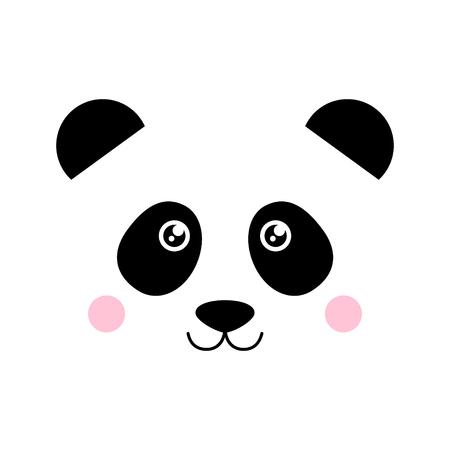 Cute panda bear, panda animal face vector graphic illustration, icon or print, isolated.