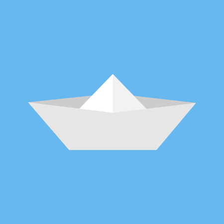 Paper boat toy. Simple origami paper boat vector icon, isolated on blue background.