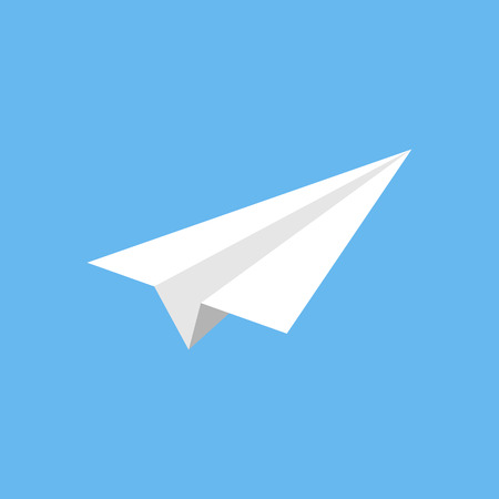Origami paper plane vector graphic, isolated on blue background. Simple flying paper toy.