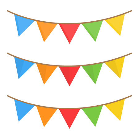 Vector Illustration Keywords: Set of three hanging festoon, garland. String with paper triangles, isolated.