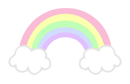 Cute and soft colored rainbow with clouds, pastel baby colors, vector illustration doodle drawing.