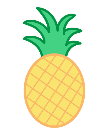 Pineapple vector cartoon illustration icon, isolated on white background