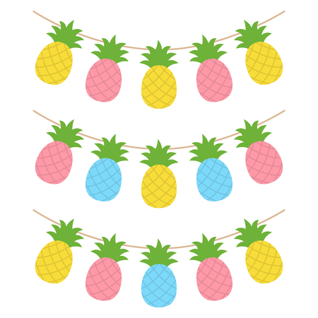 Colorful pineapple tropical fruit, set of summer party decoration, vector illustration.