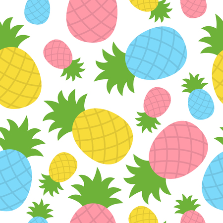 Colorful pineapple tropical fruit vector seamless pattern. Summer pineapple pattern. Vector Illustration