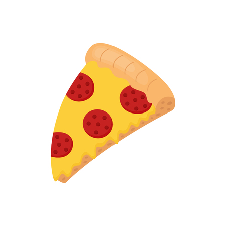 Slice of pepperoni pizza with salami and melted cheese. Cartoon pizza vector graphic illustration, isolated.