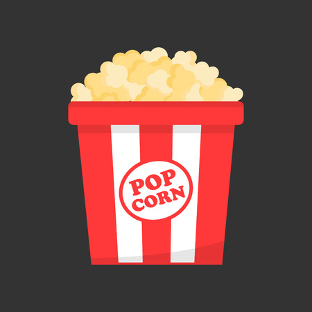 Red and white striped paper box full of popcorn, vector illustration. Salty, butter or cheese cinema snack on gray background.