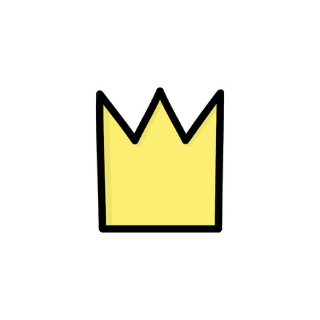 Simple yellow, gold crown for prince or princess, vector hand drawn illustration, isolated.