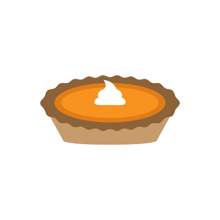 Pumpkin pie with whipped cream. Vector illustration. Thanksgiving pumpkin pie. Graphic icon or print, isolated on white background. |