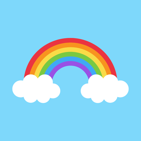 Vector Illustration Keywords: Rainbow with two white clouds on light blue background.