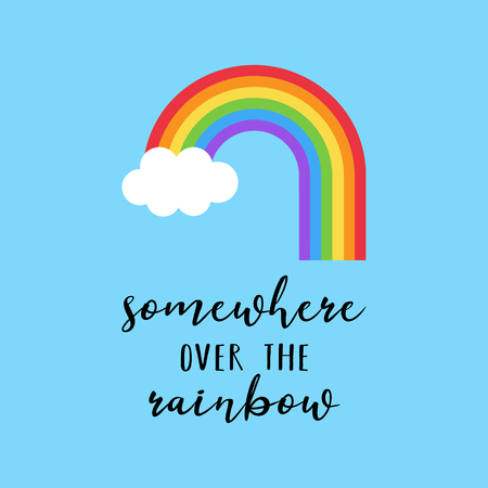 Rainbow vector illustration with somewhere over the rainbow. Colorful rainbow with white cloud on blue background. Banco de Imagens - 121528849