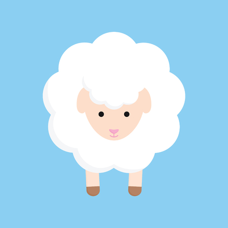 Fluffy cute sheep animal vector graphic illustration, isolated on blue background.