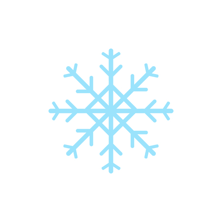 Light blue snowflake, ice snowflake vector illustration, graphic icon isolated on white background.