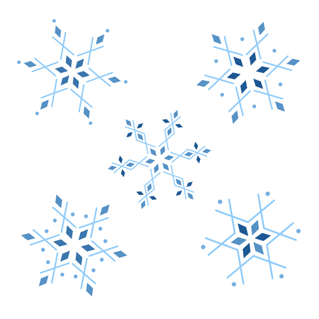 Ice geometrical snowflakes vector illustration graphic. Winter snowflake set. Çizim