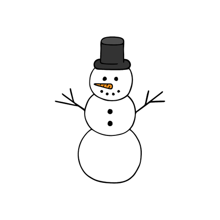 Hand drawn snowman vector illustration. Happy snowman with hat. Winter and christmas motif.