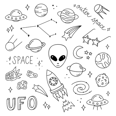 Outer space vector objects and writings. Alien, UFO, planets, satellite, solar system, meteorite, stars, rocket and other space icons. Cute, simple black outlined, hand drawn galaxy set.