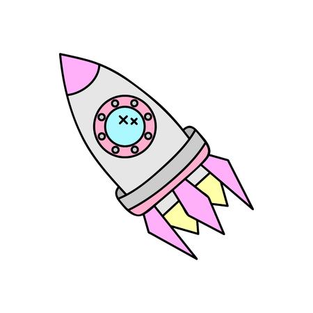 Vector Illustration Keywords: Doodle space rocket icon.