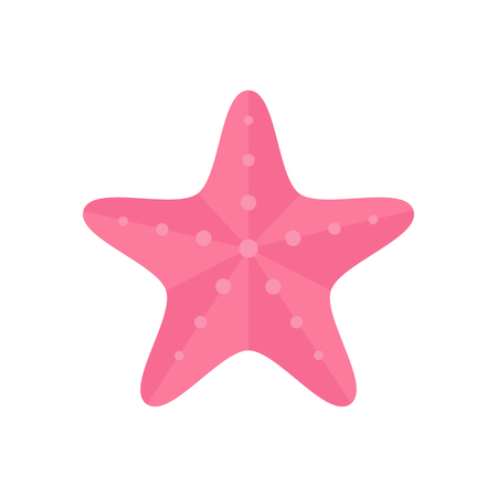 Pink starfish, ocean, vector animal illustration, isolated on white background. Starfish icon or logo.