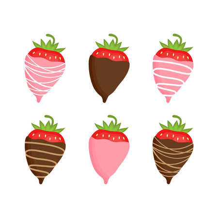 Sweet strawberries covered in chocolate, vector graphic illustration. Valentine's Day chocolate fondue snack. Strawberries in pink colored white, milk and dark chocolate.