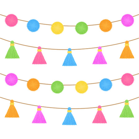 Colorful pom poms and tassels on string. Fringe garlands, vector graphic illustration isolated.