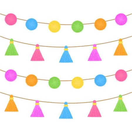 Coloridos pompones y borlas en cuerda. Guirnaldas de flecos, ilustración gráfica de vector aislado.