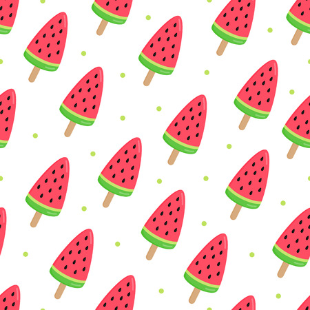 Watermelon popsicle, vector seamless pattern. Summer graphic background. Illustration