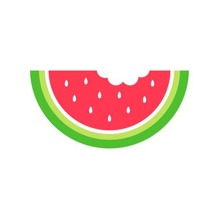 Sommer-Wassermelonen-Vektorgrafiksymbol für Web, Logo und andere Designs. Saftige rote Wassermelone mit weißen Samen.