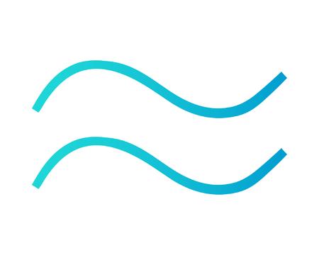 Dos ondas en color turquesa y azul. Icono de vector de onda aislado sobre fondo blanco. Símbolo del mar.