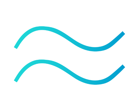 Two waves in turquoise and blue color. Wave vector icon isolated on white background. Symbol of sea.