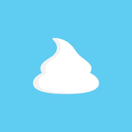 Slagroom vectorillustratie, grafisch pictogram, klodder zoete slagroom geïsoleerd op blauwe achtergrond.