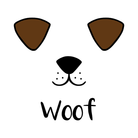 Vector Illustration Keywords: Black outlines of dog's head, cute puppy face with snout, ears and mouth. Isolated on white background. Illustration
