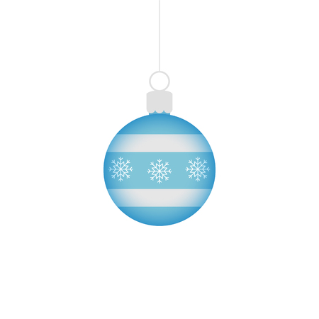 Blue and silver christmas ball ornament. Vector graphic illustration. Ball decoration for xmas tree. Ball ornament with snowflakes on string.