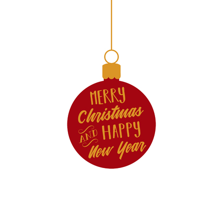 Merry Christmas and Happy New Year, red and gold ball ornament vector graphic illustration with writing. Festive ball hanging on a string greeting card.