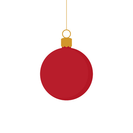 Christmas red and gold ball ornament vector illustration. Festive ball hanging on a string.