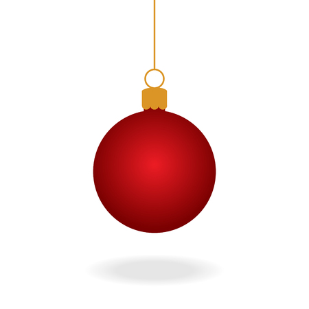 Realistic red christmas ball ornament, vector graphic illustration. Red xmas ball on string with shadow under.