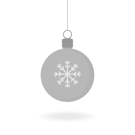Christmas silver grey ball ornament vector illustration. Festive ball with snowflake. Hanging on a string with shadow under. Çizim