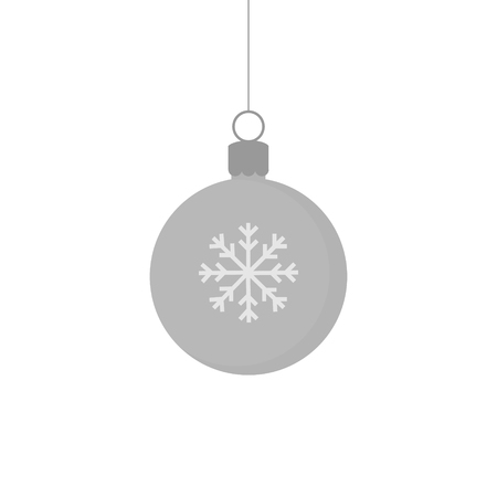 Christmas silver grey ball ornament vector illustration. Festive ball with snowflake. Hanging on a string.