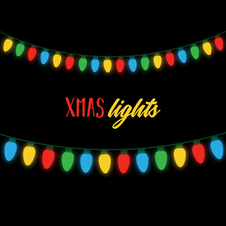 Christmas colorful lights on string. Xmas lights on black background with writing. Colorful light bulbs illustration.