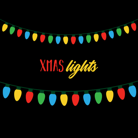 Christmas colorful lights on string. Xmas lights on black background with writing. Colorful light bulbs vector graphic illustration. Ilustrace
