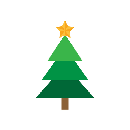 Christmas tree with star. Festive xmas tree vector graphic icon. Green christmas conifer tree with golden star on top.