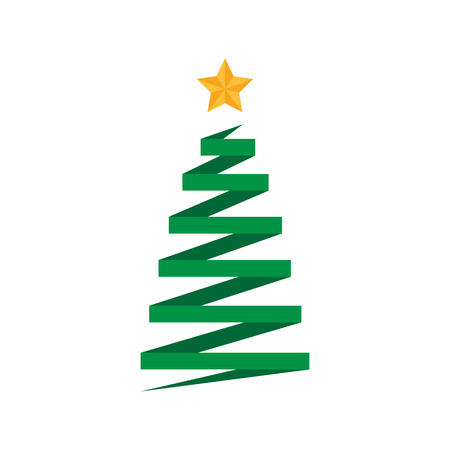 Origami folded paper christmas tree with golden star. Xmas tree vector graphic icon, illustration with gold star on top.