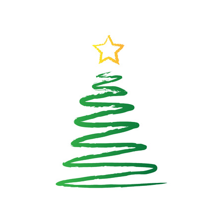 Hand drawn christmas tree with star. Painted vector illustration. Green abstract xmas tree with gold star on top.