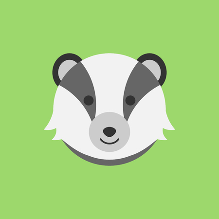 Cute badger round vector graphic icon. Badger animal head, face illustration. Isolated on green background. Reklamní fotografie - 121528610