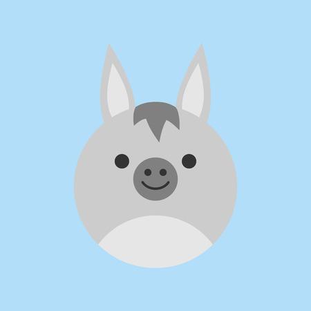 Cute donkey round vector graphic icon. Gray Donkey Animal Head, Face Illustration. Isolated on blue background.