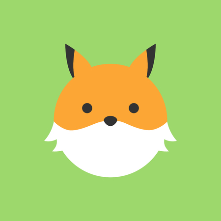 Cute fox round vector graphic icon. Fox animal head, face illustration. Isolated on green background. Banque d'images - 121528625
